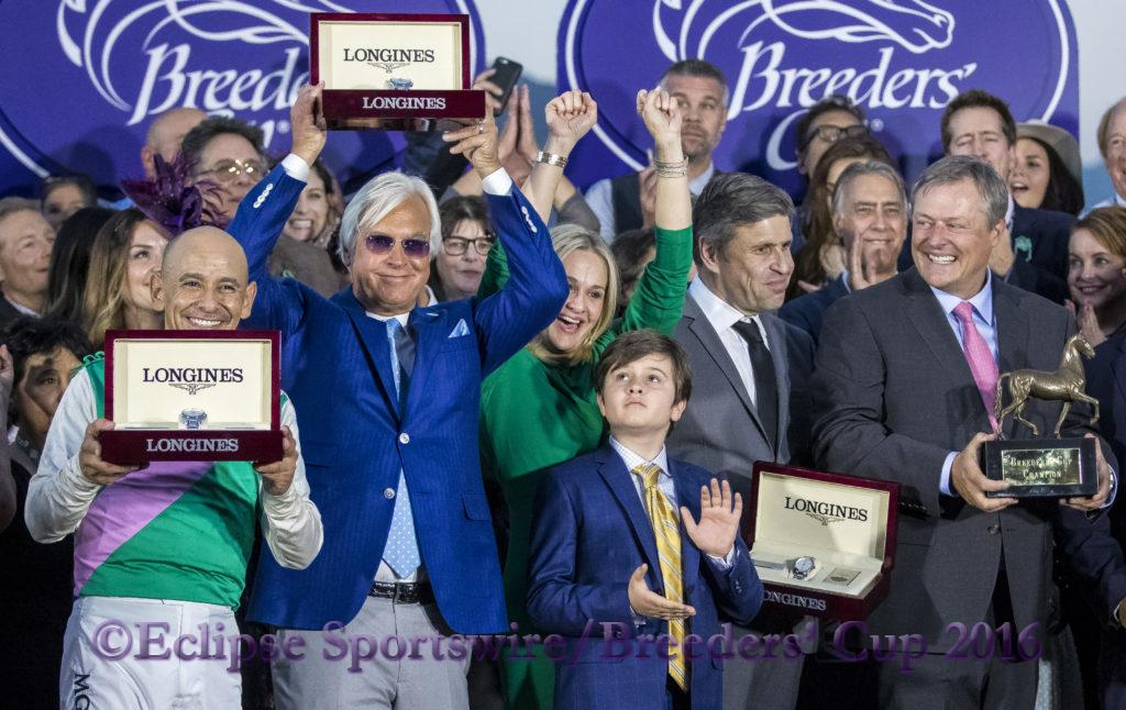 ARCADIA, CA - NOVEMBER 05: The Arrogate connections in the winner's circle after winning the Breeders' Cup Classic during day two of the 2016 Breeders' Cup World Championships at Santa Anita Park on November 5, 2016 in Arcadia, California. (Photo by Alex Evers/Eclipse Sportswire/Breeders Cup)