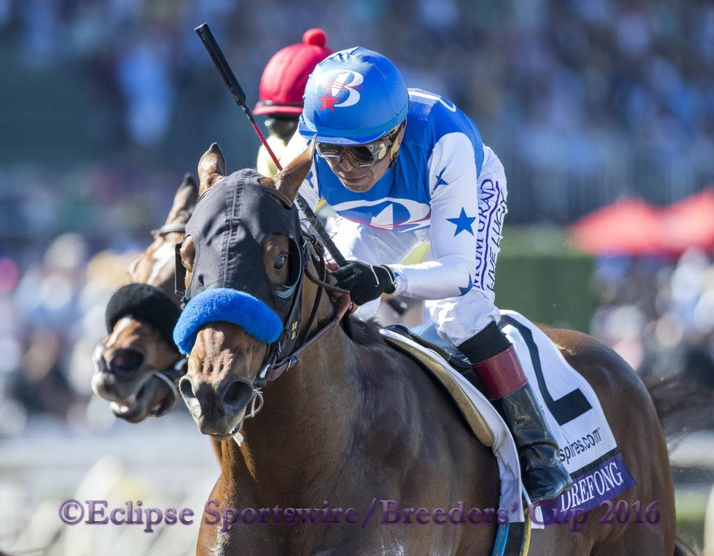 ARCADIA, CA - NOVEMBER 05: Drefong #2, ridden by Martin Garcia, wins the TwinSpires Breeders' Cup Sprint during day two of the 2016 Breeders' Cup World Championships at Santa Anita Park on November 5, 2016 in Arcadia, California. (Photo by Alex Evers/Eclipse Sportswire/Breeders Cup)