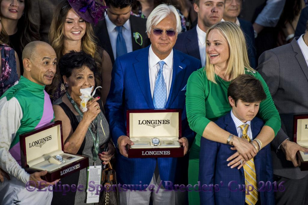 ARCADIA, CA - NOVEMBER 05: Arrogate jockey Mike Smith (L), trainer Bob Baffert (C) and Jill Baffert in the winner's circle after they won the Breeders' Cup Classic during day two of the 2016 Breeders' Cup World Championships at Santa Anita Park on November 5, 2016 in Arcadia, California. (Photo by Douglas DeFelice/Eclipse Sportswire/Breeders Cup)
