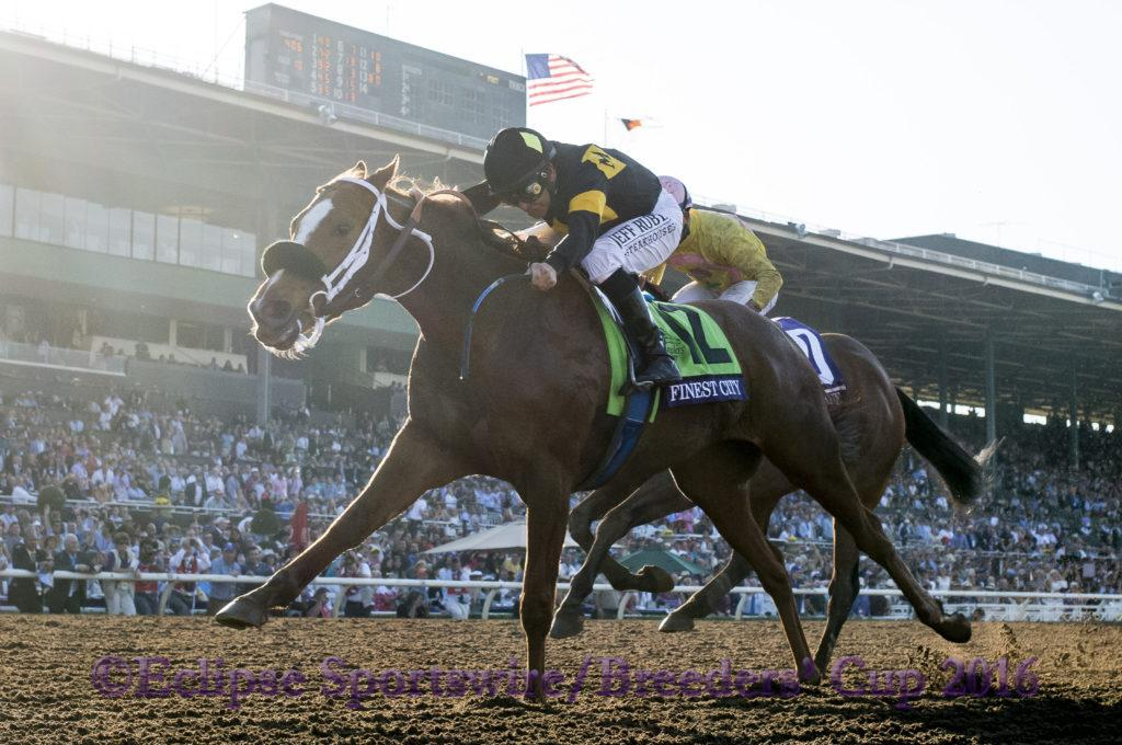 ARCADIA, CA - NOVEMBER 05: Finest City #12, ridden by Mike Smith, wins the Breeders' Cup Filly & Marie Sprint during day two of the 2016 Breeders' Cup World Championships at Santa Anita Park on November 5, 2016 in Arcadia, California. (Photo by Alex Evers/Eclipse Sportswire/Breeders Cup)