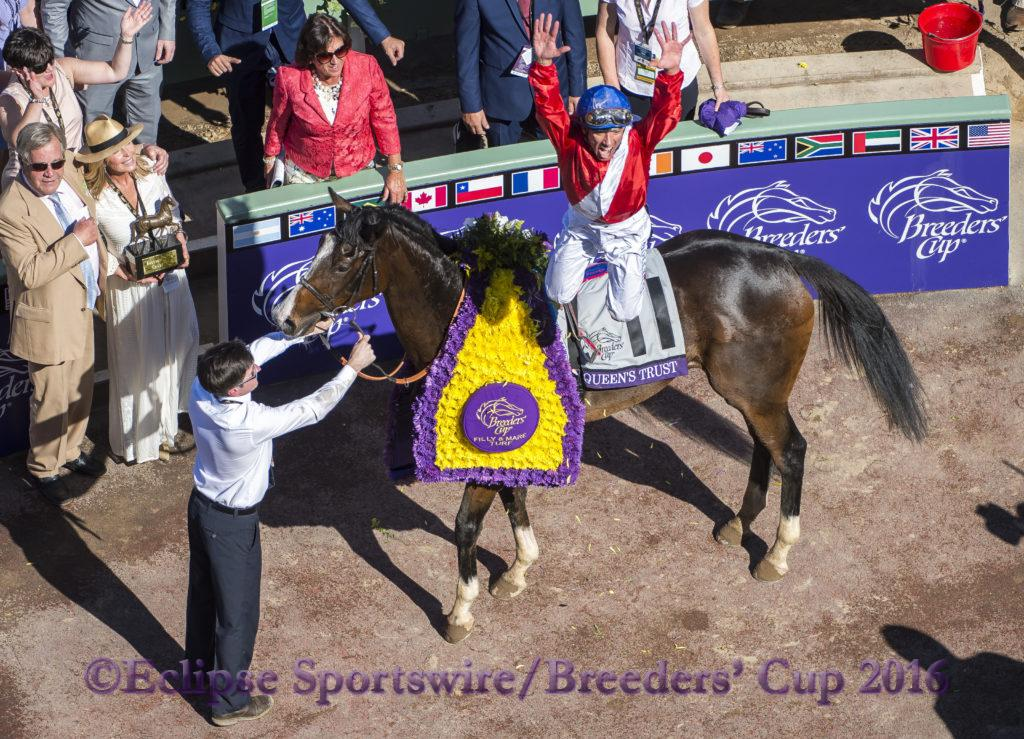 ARCADIA, CA - NOVEMBER 05: Lanfranco Dettori, leaps off of Queen's Trust #11, after winning the Breeders' Cup Filly & Mare Turf during day two of the 2016 Breeders' Cup World Championships at Santa Anita Park on November 5, 2016 in Arcadia, California. (Photo by Michael McInally/Eclipse Sportswire/Breeders Cup)