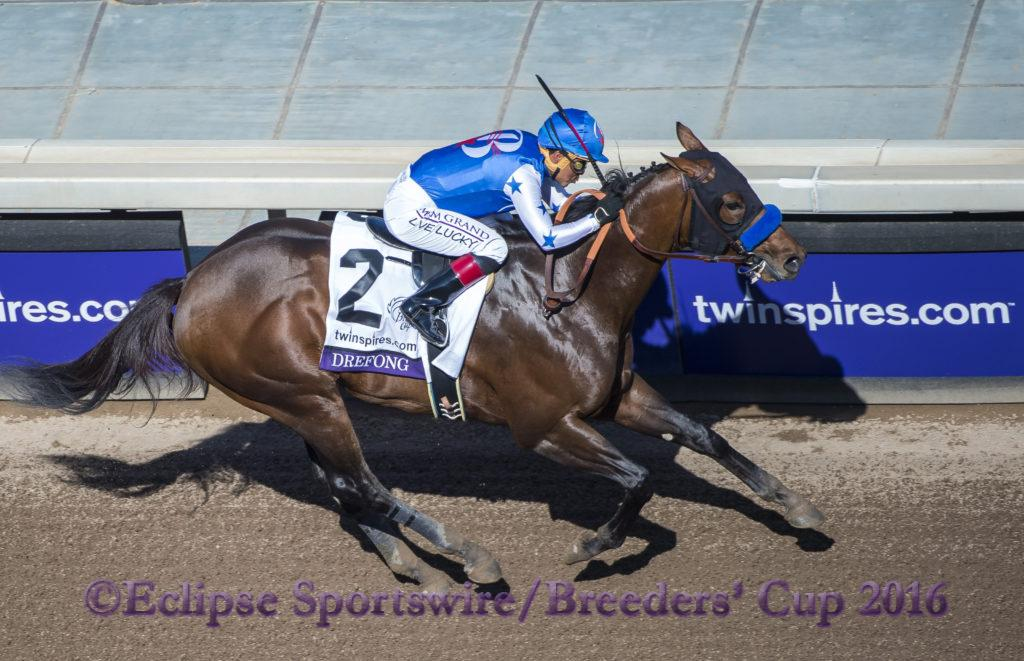 ARCADIA, CA - NOVEMBER 05: Drefong #2, ridden by Martin Garcia, wins the TwinSpires Breeders' Cup Sprint during day two of the 2016 Breeders' Cup World Championships at Santa Anita Park on November 5, 2016 in Arcadia, California. (Photo by Michael McInally/Eclipse Sportswire/Breeders Cup)
