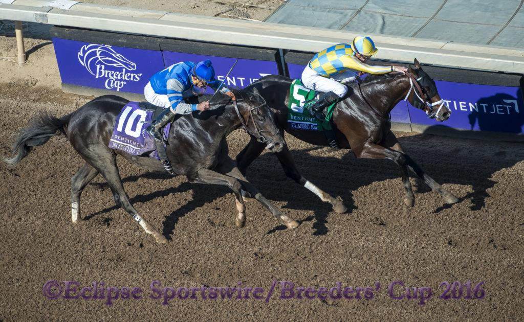 ARCADIA, CA - NOVEMBER 05: Classic Empire #5, ridden by Julien Leparoux, wins the Sentient Jet Breeders' Cup Juvenile during day two of the 2016 Breeders' Cup World Championships at Santa Anita Park on November 5, 2016 in Arcadia, California. (Photo by Michael McInally/Eclipse Sportswire/Breeders Cup)