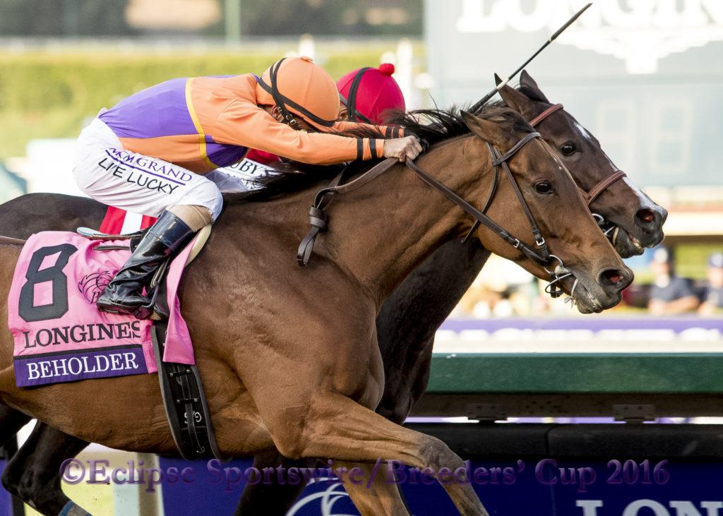 ARCADIA, CA - NOV 4:  Beholder #8, ridden by Gary Stevens (orange) overtakes Songbird #1, ridden by Mike Smith to win the Breeders' Cup Distaff, at Santa Anita Park on November 4, 2016 in Arcadia, California. (Photo by /Bob Mayberger/Eclipse Sportswire/Breeders Cup)