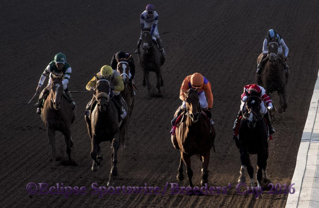 ARCADIA, CA - NOV 4:  Beholder #8, ridden by Gary Stevens (orange) overtakes Songbird #1, ridden by Mike Smith to win the Breeders' Cup Distaff, at Santa Anita Park on November 4, 2016 in Arcadia, California. (Photo by /Eric Patterson/Eclipse Sportswire/Breeders Cup)