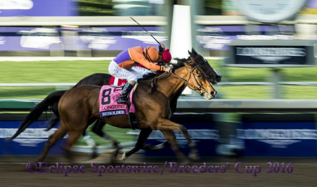 ARCADIA, CA - NOV 4:  Beholder #8, ridden by Gary Stevens (orange) overtakes Songbird #1, ridden by Mike Smith to win the Breeders' Cup Distaff, at Santa Anita Park on November 4, 2016 in Arcadia, California. (Photo by /Scott Serio/Eclipse Sportswire/Breeders Cup)