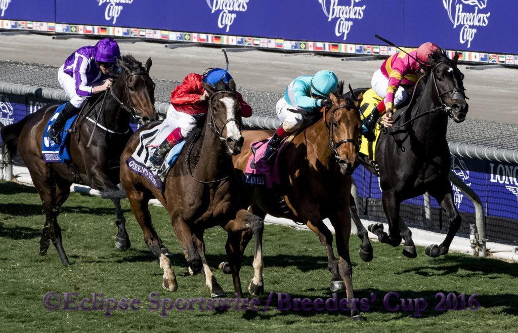 ARCADIA, CA - NOVEMBER 5: Queen's Trust #11, ridden by Lanfranco Dettori, races in the Breeders' Cup Filly & Mare Turf during day two of the 2016 Breeders' Cup World Championships at Santa Anita Park on November 5, 2016 in Arcadia, California. (Photo by Eric Patterson/Eclipse Sportswire/Breeders Cup)