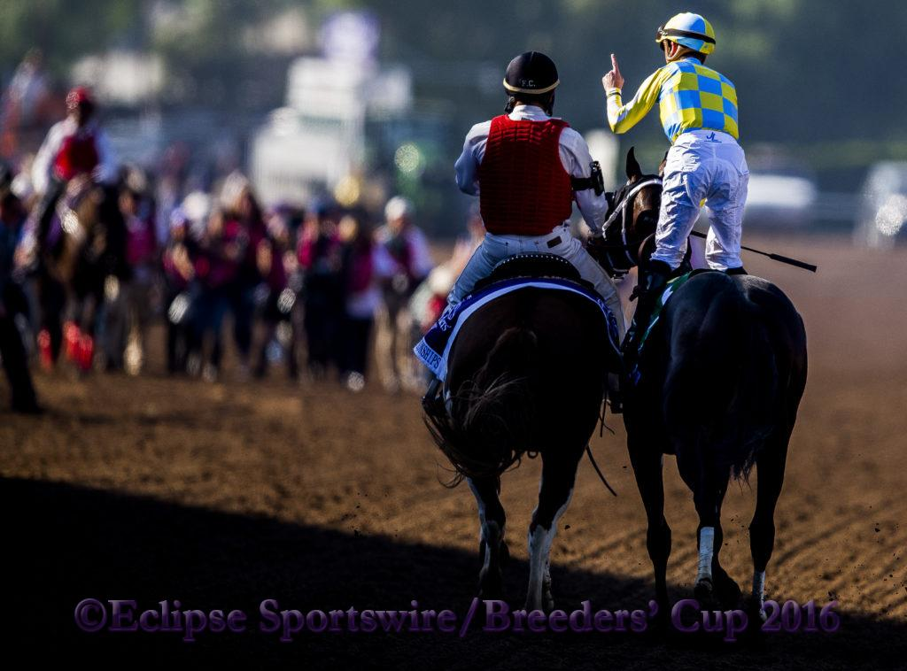 ARCADIA, CA - NOVEMBER 5: Classic Empire #5, ridden by Julien Leparoux, races in the the Breeders' Cup Filly & Mare Turf during day two of the 2016 Breeders' Cup World Championships at Santa Anita Park on November 5, 2016 in Arcadia, California. (Photo by Kaz Ishida/Eclipse Sportswire/Breeders Cup)