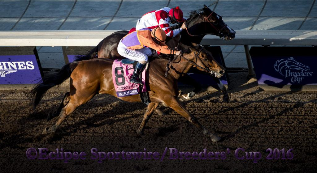 ARCADIA, CA - NOV 4:  Beholder #8, ridden by Gary Stevens (orange) overtakes Songbird #1, ridden by Mike Smith to win the Breeders' Cup Distaff, at Santa Anita Park on November 4, 2016 in Arcadia, California. (Photo by /Micahel McInally/Eclipse Sportswire/Breeders Cup)