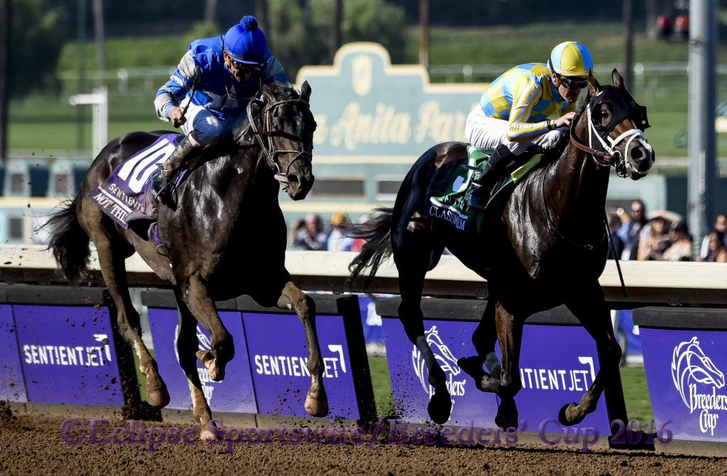 ARCADIA, CA - NOVEMBER 5: Classic Empire #5, ridden by Julien Leparoux, races in the the Breeders' Cup Filly & Mare Turf during day two of the 2016 Breeders' Cup World Championships at Santa Anita Park on November 5, 2016 in Arcadia, California. (Photo by Bob Mayberger/Eclipse Sportswire/Breeders Cup)
